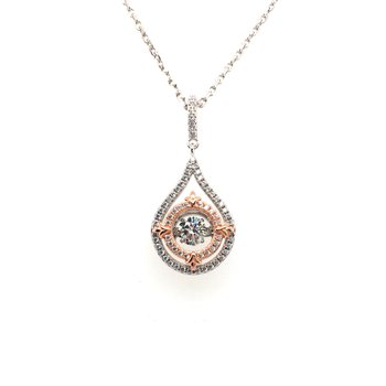 Sterling Silver and Rose Gold Plated Pendant With Simulated Diamonds