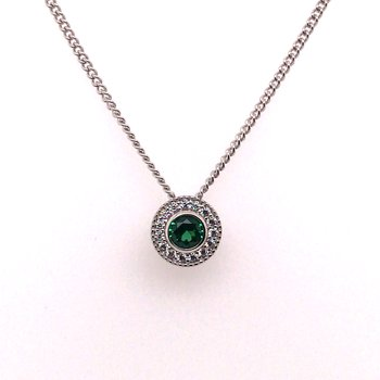 Kelly Waters Round Simulated Emerald Gem Pendant With Simulated Diamonds