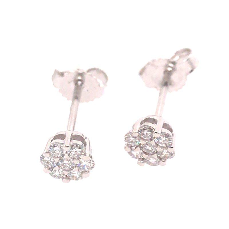 Gems One Diamond Cluster Stud Earrings