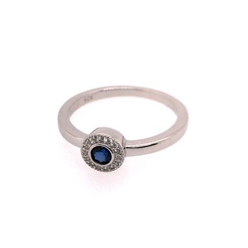 Kelly Waters Micropave Round Simulated Sapphire Ring With Simulated Diamonds