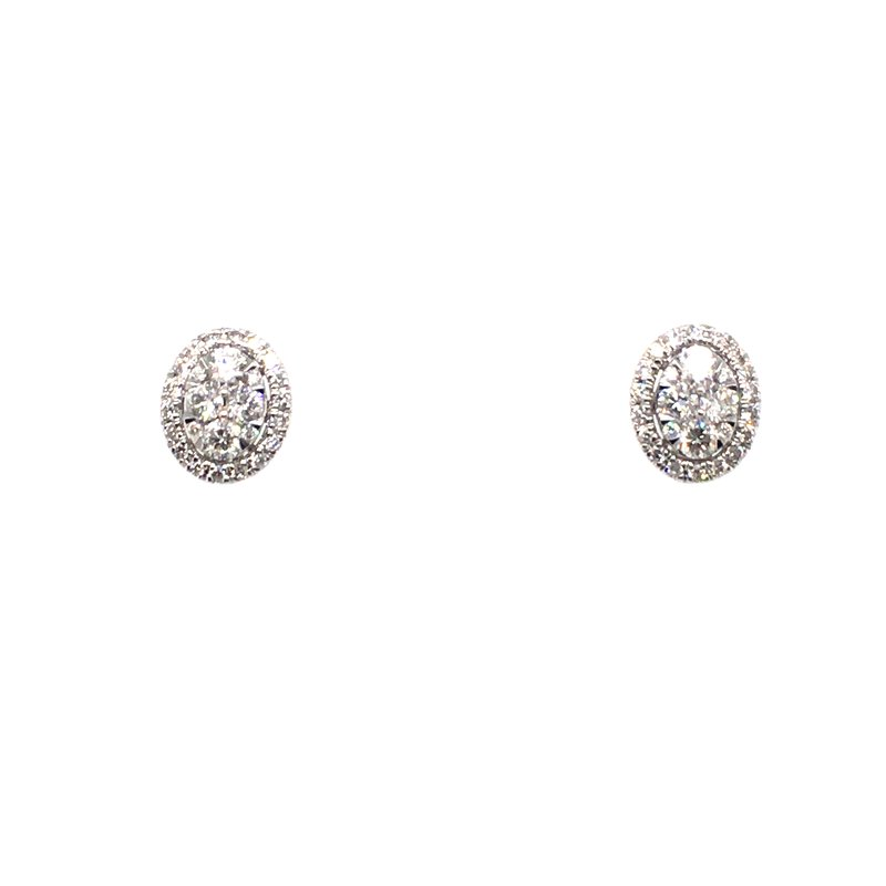 Gems One Oval Diamond Earrings with Halo