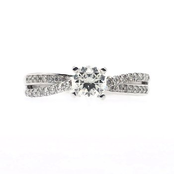 Round Crossed Band Prong Set and Channel Set Ring