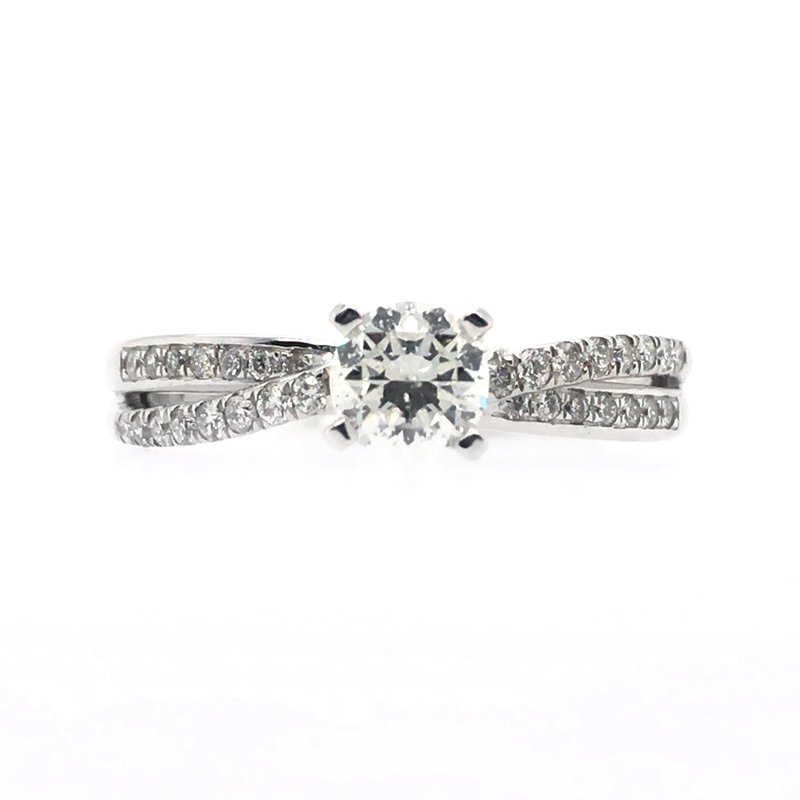 Gems One Round Crossed Band Prong Set and Channel Set Ring