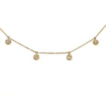14 Karat Yellow Gold Diamond Circle Disc Necklace .22 Carat