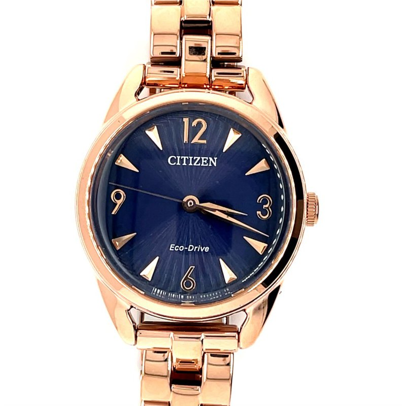 Citizen Citizen Watch With Rose Gold Plated Bracelet, Casing, Hands, And Numbers On Navy Blue Dial With Eco Drive Technology
