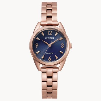 Citizen Watch With Rose Gold Plated Bracelet, Casing, Hands, And Numbers On Navy Blue Dial With Eco Drive Technology