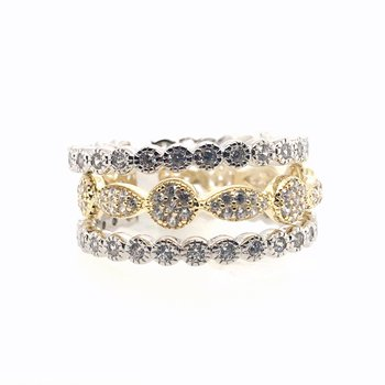 Simulated Diamond Three Piece Stackable Eternity Rings