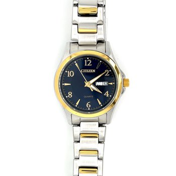 Citizen Watch With Two Tone Gold Plated, Navy Dial, Gold Hands, Numbers, Markings, Time And Day Quartz Movement