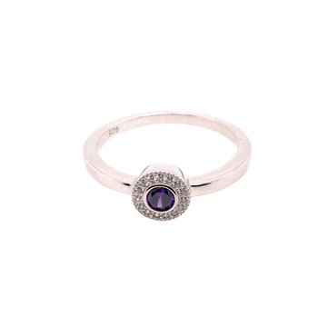 Kelly Waters Micropave Round Simulated Amethyst Ring With Simulated Diamonds