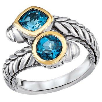 Eleganza Ladies Fashion Blue Topaz Ring