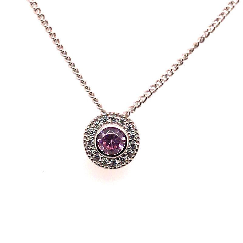 Kelly Waters Kelly Waters Round Simulated Pink Sapphire Gem Pendant With Simulated Diamonds
