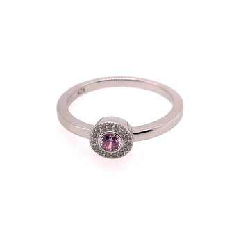 Kelly Waters Micropave Round Simulated Pink Sapphire Ring With Simulated Diamonds
