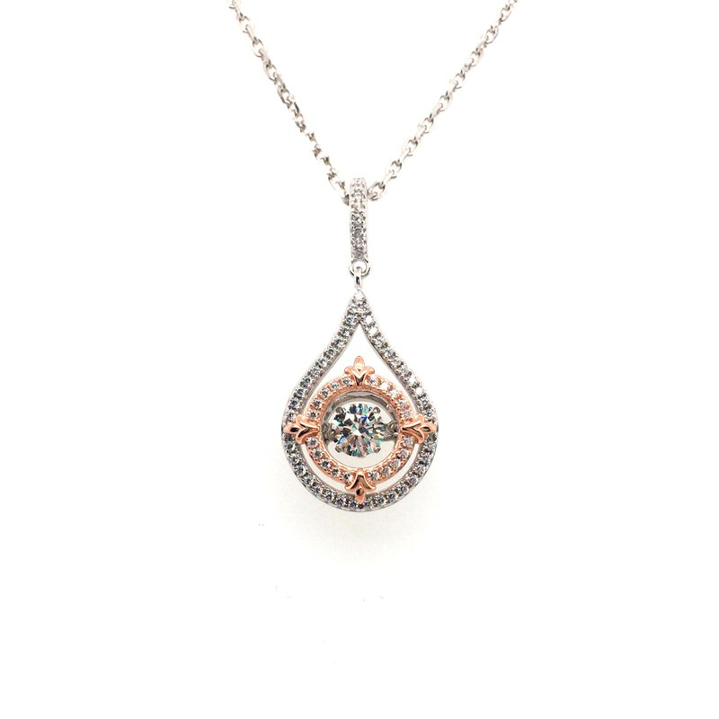 Gems One Sterling Silver and Rose Gold Plated Pendant With Simulated Diamonds