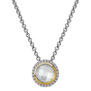 Eleganza Halo Necklace with Mother of Pearl and Diamonds