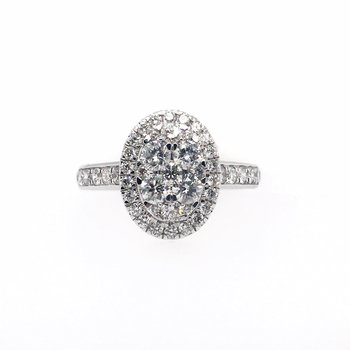 Diamond Cluster and Oval Halo Prong Channel Sides Ring