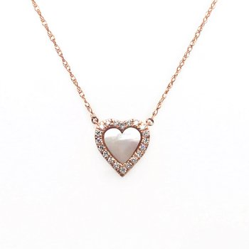 Diamonds with Mother Of Pearl Center Heart Stationary Pendant