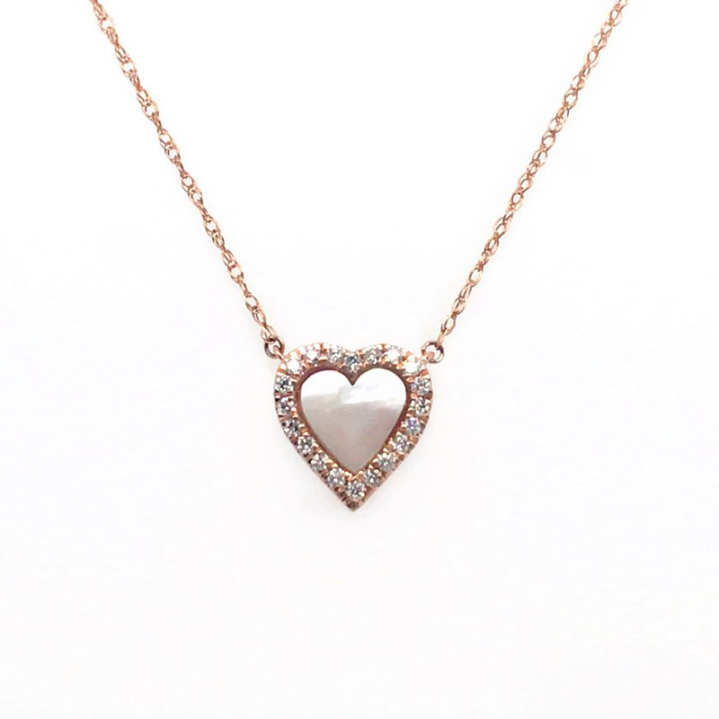 Gems One Diamonds with Mother Of Pearl Center Heart Stationary Pendant