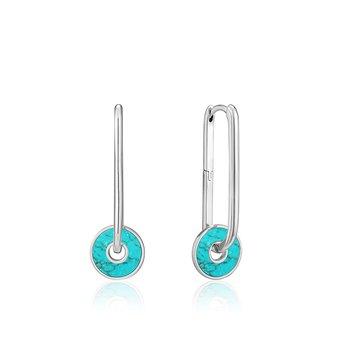 Turquoise Disc Hoop Earrings