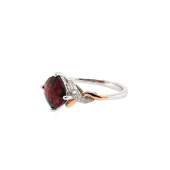 Round Diamonds And Cushion Cut Garnet Ring