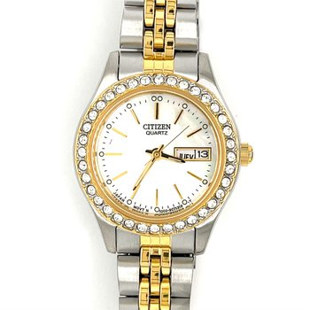 Citizen Watch With Two Tone Gold Plated, Mother Of Pearl Dial And Stones In Bezel With Quartz Movement