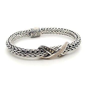 Sterling Silver and 18 Karat 7.5 inch Silver Bracelet