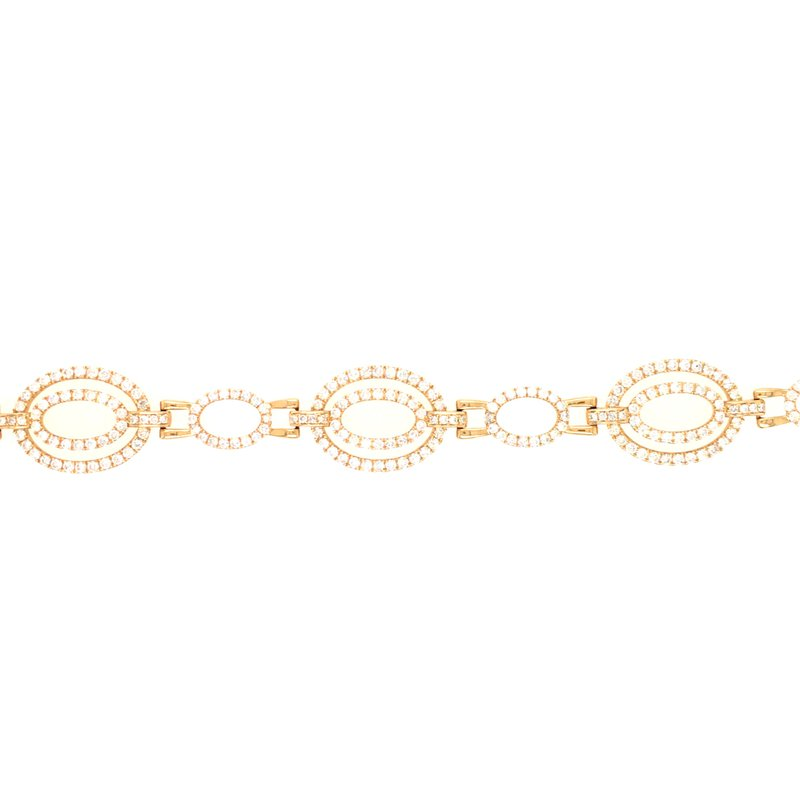 Variety Gem Diamond Oval Link Tennis Bracelet