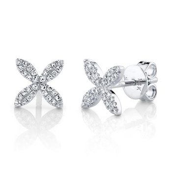 14 Karat White Gold 0.16 Carat Diamond Flower Stud Earrings