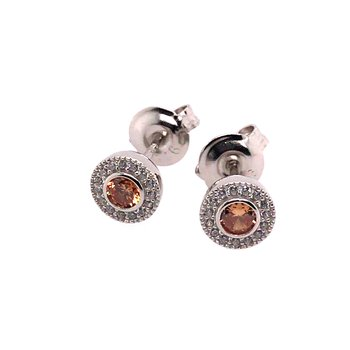 Kelly Waters Micropave Round Simulated Citrine Earrings With Simulated Diamonds