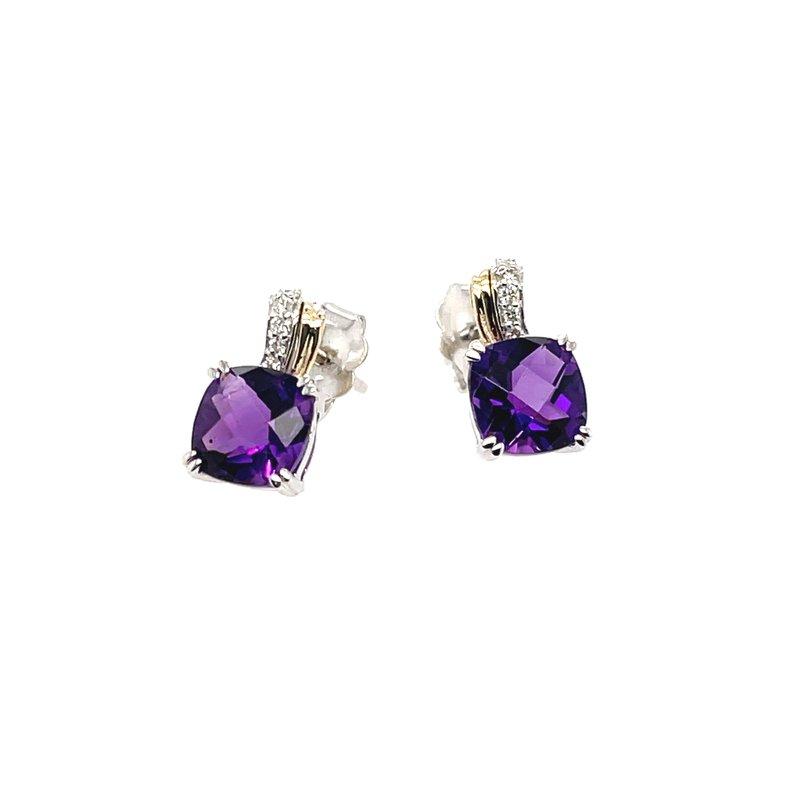 Variety Gem Round Diamonds & Amethyst Earrings