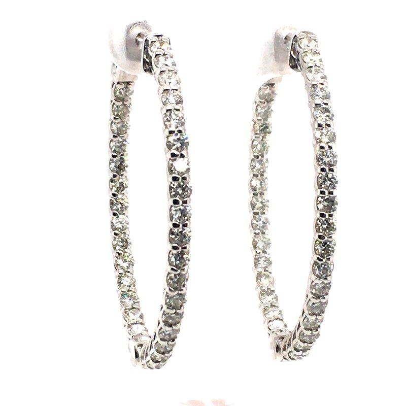 Gems One Diamond Prong Set Oval Hoop Earrings