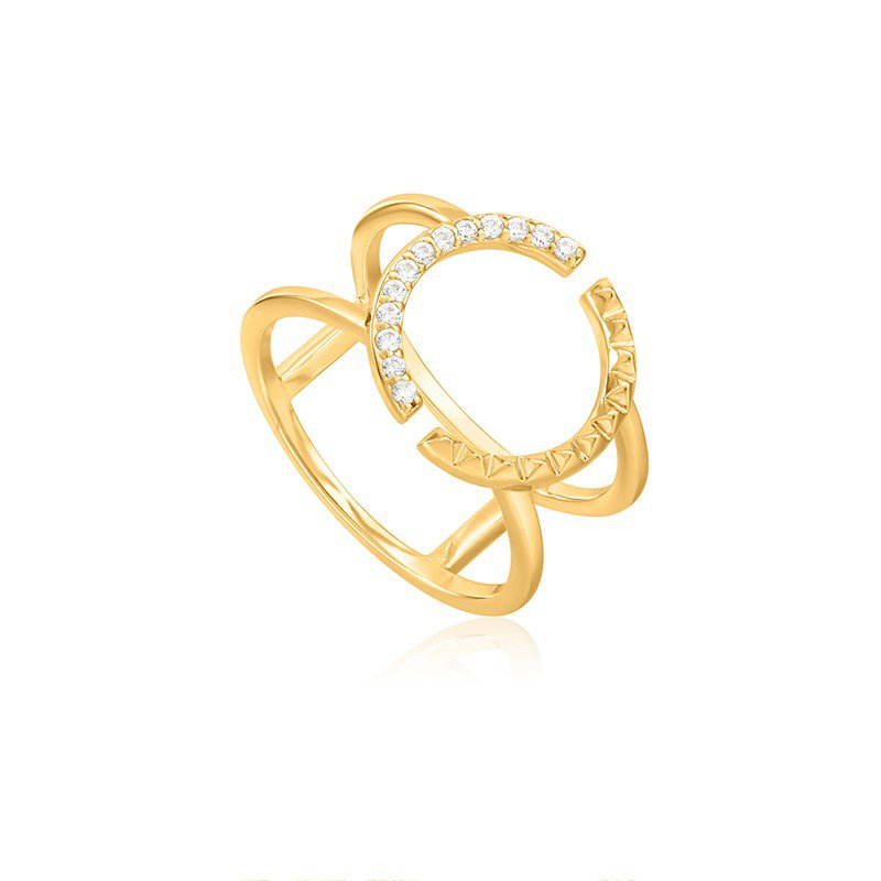 Ania Haie Gold Spike Adjustable Double Ring