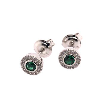 Kelly Waters Micropave Round Simulated Emerald Earrings With Simulated Diamonds