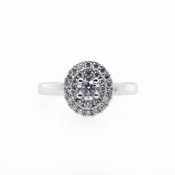 Double Halo with Carat Round Center Ring