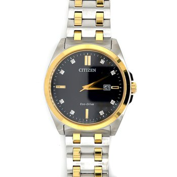 Citizen Watch with Black Dial, Gold Hands And Markings With Sapphire Crystals, Eco Drive Technology, Time And Date