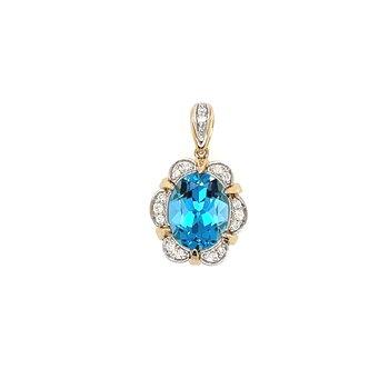 Diamonds & Oval Blue Topaz Pendant