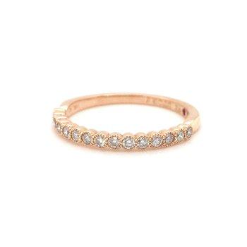 14 Karat Rose Gold Diamond Milgrain Band Ring