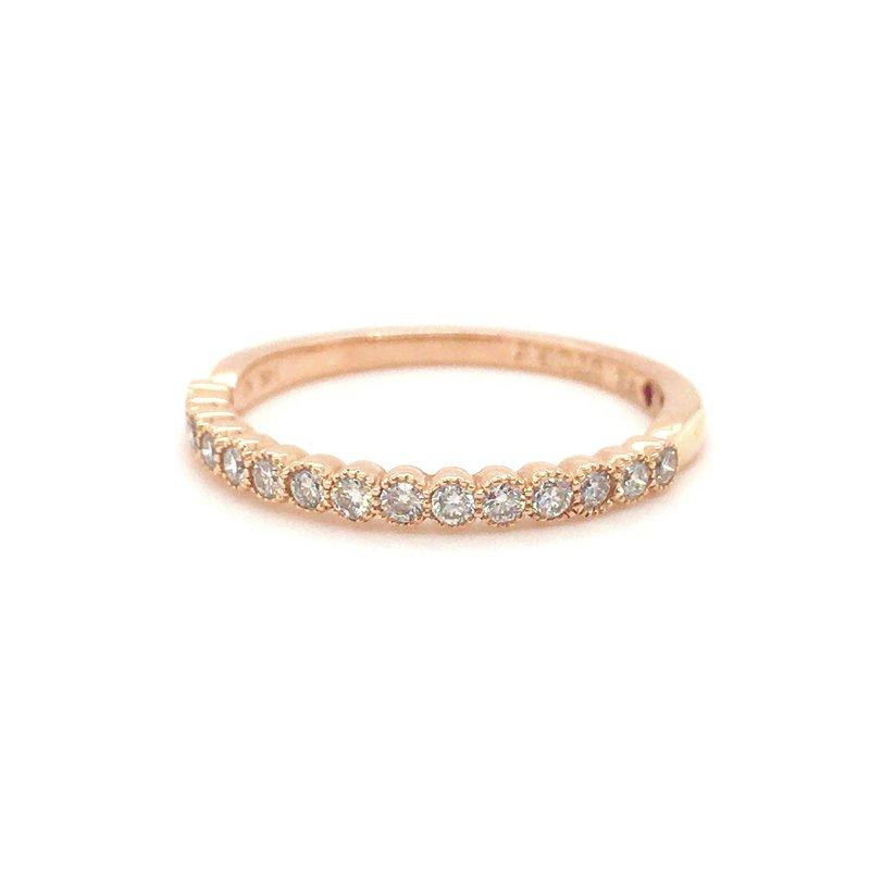 Amden 14 Karat Rose Gold Diamond Milgrain Band Ring