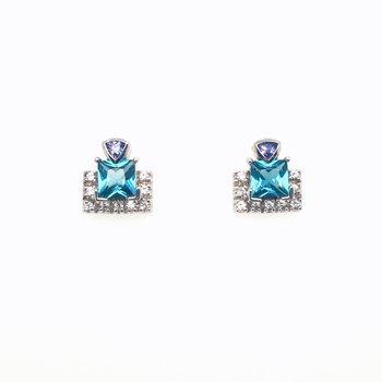 Ocean Quartz Topaz And Sapphire Stud Earrings