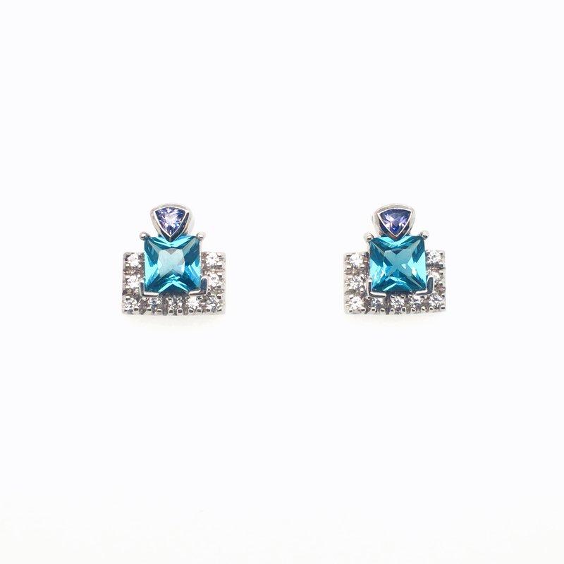 Frank Reubel Ocean Quartz Topaz And Sapphire Stud Earrings