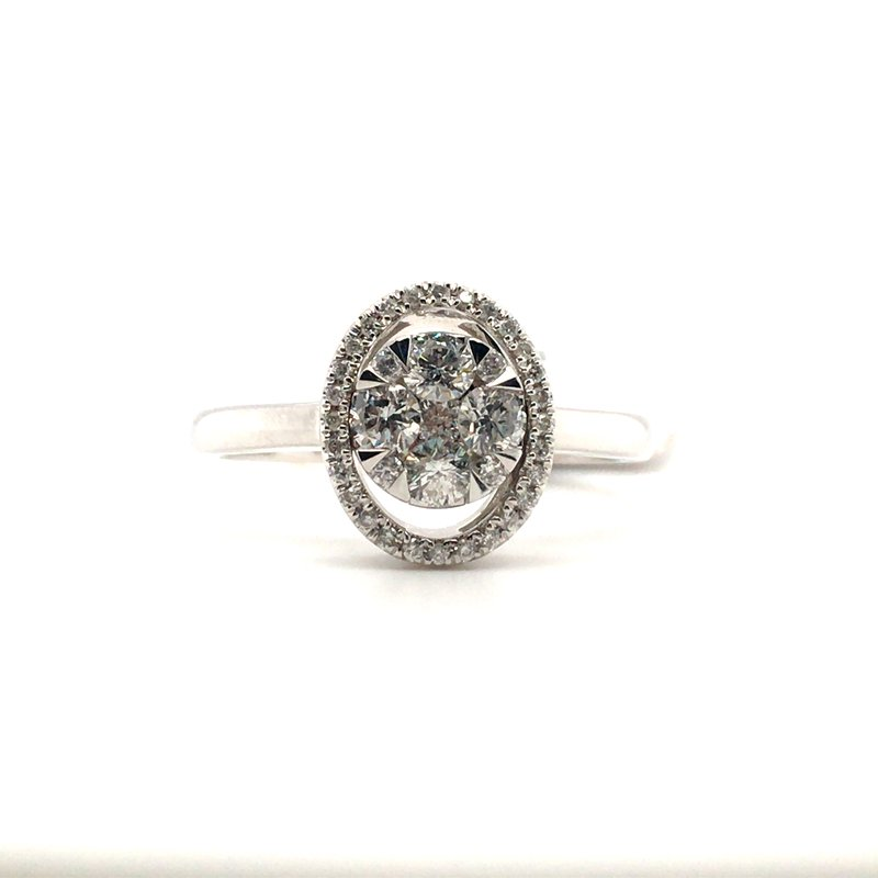 Gems One Round Diamond With Oval Halo Ring