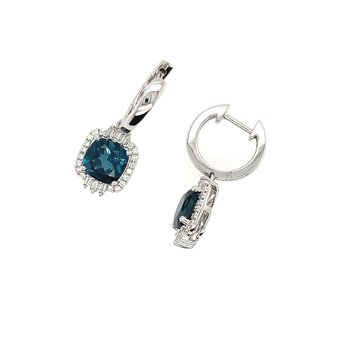 Round and Baguette Diamonds and Cushion Shaped London Blue Topaz Earrings