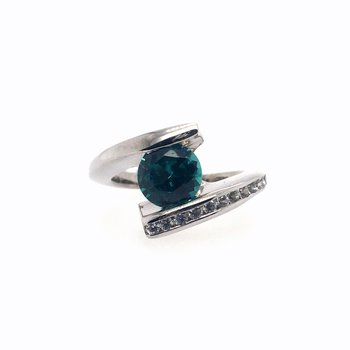 Blue Topaz With White Sapphire Ring