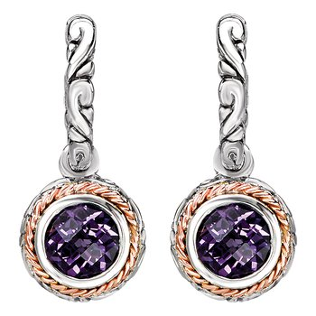 Eleganza Ladies Dangling Huggie Amethyst Earrings