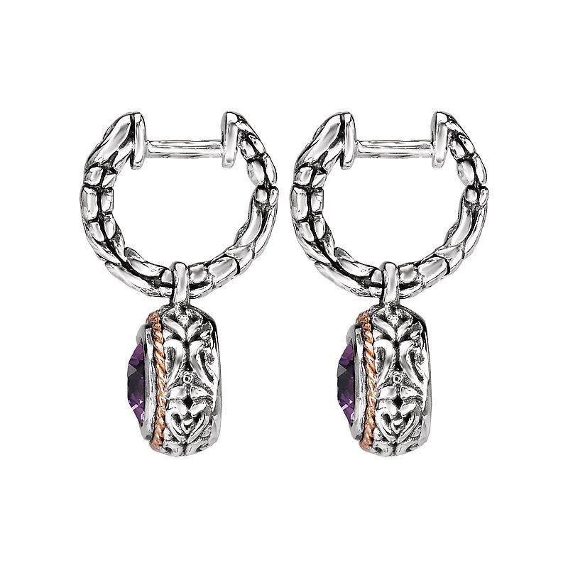 Kim International Eleganza Ladies Dangling Huggie Amethyst Earrings