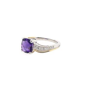 Round Diamonds & Cushion Cut Amethyst Ring