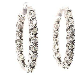Diamond Oval Hoop Earrings