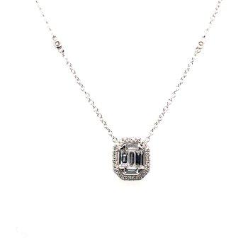 Baguette and Round Cut Diamond Pendant