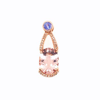 Morganite With Tanzanite and Diamond Pendant