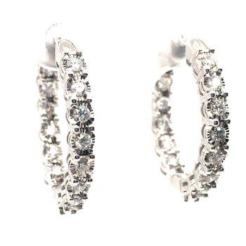 Diamond Round Hoop Earrings