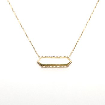 14 Karat Yellow Gold Bar Necklace With Diamonds 0.12 Carat